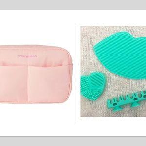 Makeup brush rack mat brush cosmetic bag 4 pc set